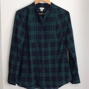 J.Crew navy blue & forest green plaid blouse.